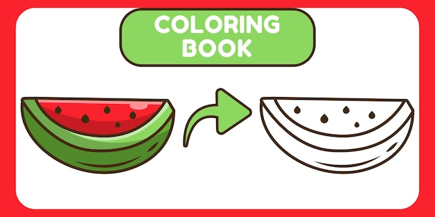 Cute watermelon hand drawn cartoon doodle coloring book for kids