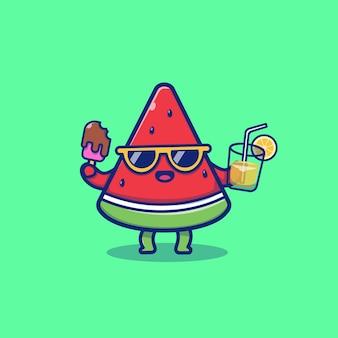 Симпатичные арбуз холдинг мороженого и апельсинового сока мультяшный векторная иллюстрация значок. летние фрукты значок концепции изолированных премиум вектор. плоский мультяшный стиль