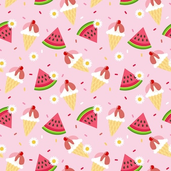 Cute watermelon and ice cream seamless pattern.