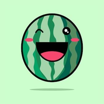 緑に分離されたかわいいスイカアイコン漫画