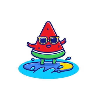 Cute watermelon surfing   icon illustration. summer fruits icon concept   .