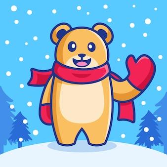 降雪の冬の季節にかわいい手を振るクマ Premiumベクター