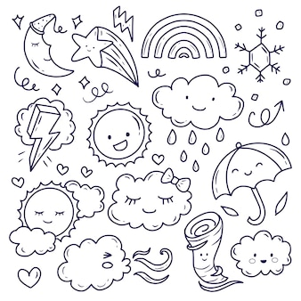Милая погода и облако каракули рисования линий