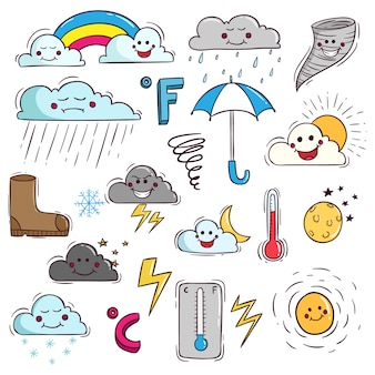 Cute weather elements in doodle style