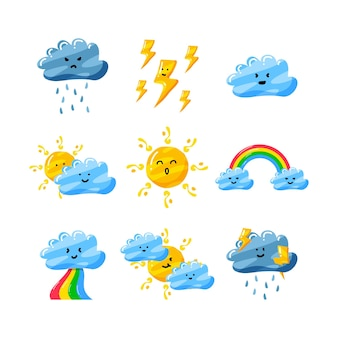 Cute weather in flat hand drawn style set pack