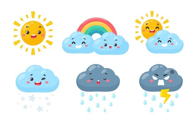 かわいい天気アイコンを設定します。白い背景で隔離の天気予報アイコン。