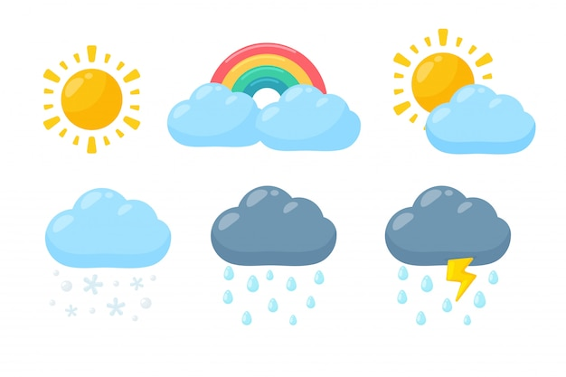 Милый погодный символ установлен. прогноз погоды в значок, изолированные на белом фоне.