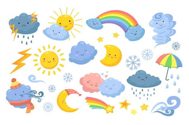 Cute weather. isolated rainbow, cartoon rain and hurricane. funny and angry clouds, happy sun and tornado. emotional nature  icons. meteorology weather icons, rainbow and snow illustration