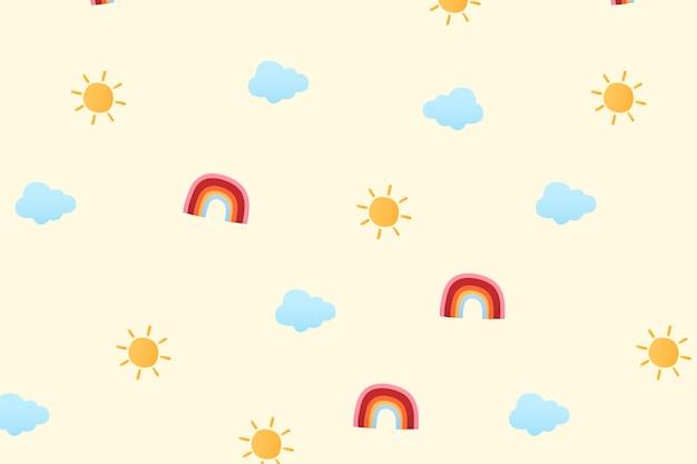 귀여운 날씨 패턴 배경 벽지, 날씨 벡터 일러스트 레이 션