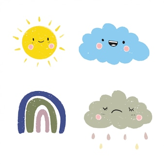 Cute weather set vector.