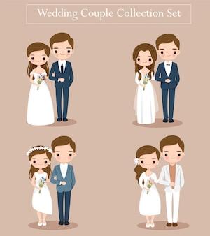 결혼식 초대 카드에 대 한 귀여운 결혼식 신부 및 신랑 몇 세트
