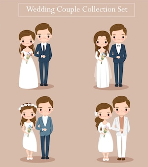 Cute wedding bride and groom couple set for wedding invitation card