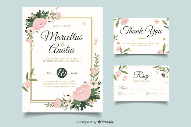 Cute wedding card invitations with flat design