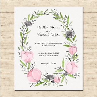 Cute wedding card with a floral frame