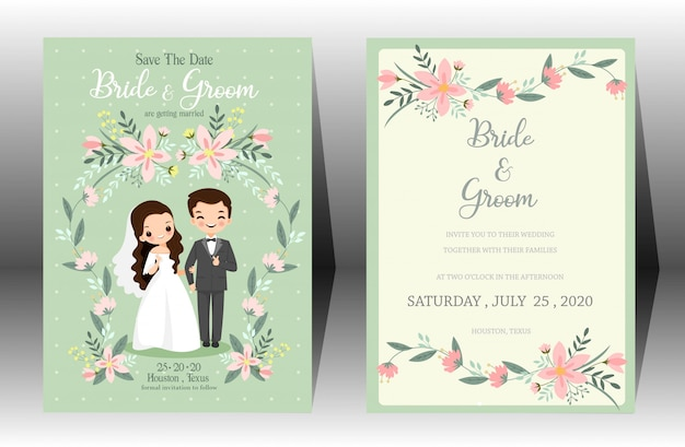 Cute wedding cartoon bride and groom couple invitation card on green background