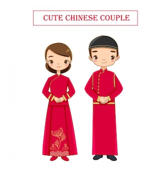 Cute wedding  chinese couple in traditional dress