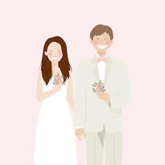 レトロで素朴なテーマ、白いウェディングドレスとスーツの結婚式の服装を着て笑顔と幸せで晴れやかなかわいい結婚式のカップル