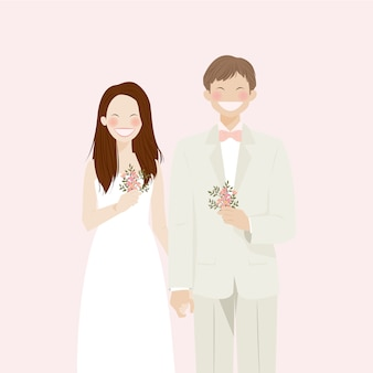 Cute wedding couple beaming with smile and happiness wearing wedding attire, in retro and rustic theme, white wedding dress and wedding suit