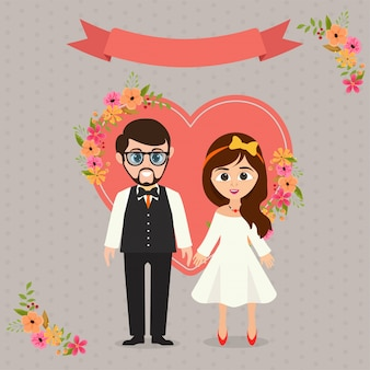 cute wedding couple bride and groom with heart decorated background 1302 8090