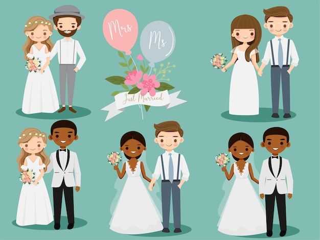 Cute wedding couple cartoon character set