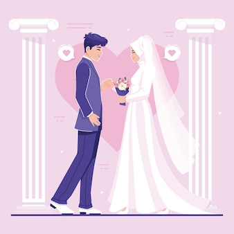 かわいい結婚式のカップルキャライラスト