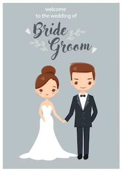 Cute wedding couple characters for wedding invitations card