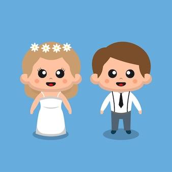 결혼식을위한 귀여운 웨딩 커플
