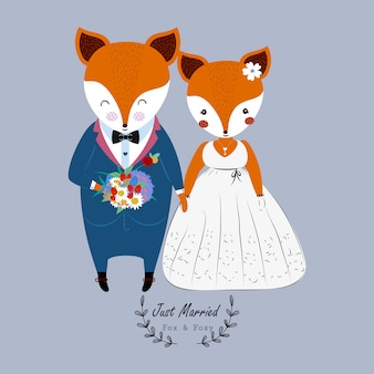 Cute wedding couple fox in wedding dress and flower bouquet