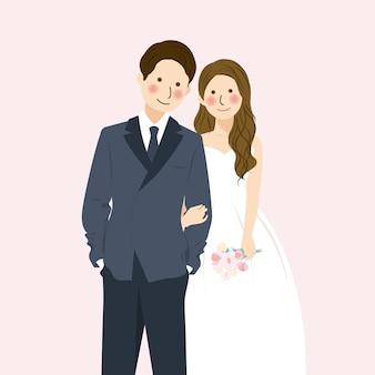 かわいい結婚式のカップルが手を握って、正式な結婚式の服装を抱きしめる、フラワーブーケとロマンチックなかわいいカップルイラストキャラクター