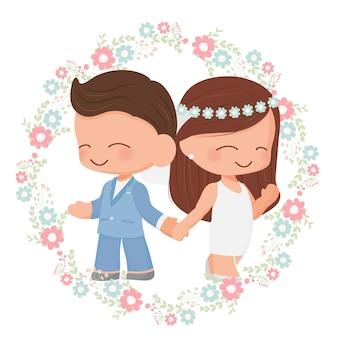 バレンタインの日や結婚式のカードの花の花輪フラットスタイルでかわいい結婚式のカップル