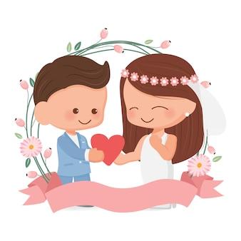 バレンタインの日や結婚式のカードのための花の花輪フラットスタイルでかわいい結婚式のカップル