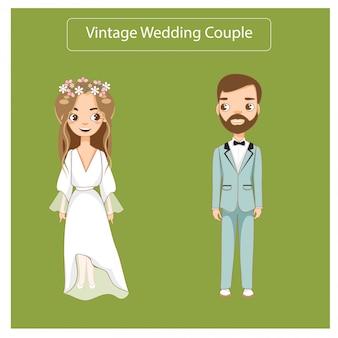 빈티지 웨딩 드레스에 귀여운 웨딩 커플