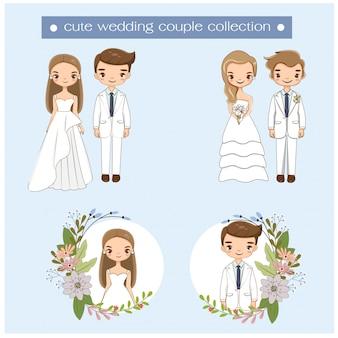 웨딩 드레스 컬렉션의 귀여운 웨딩 커플