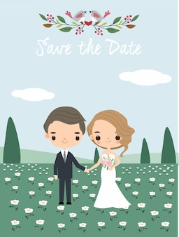 Cute wedding couple for invitations card