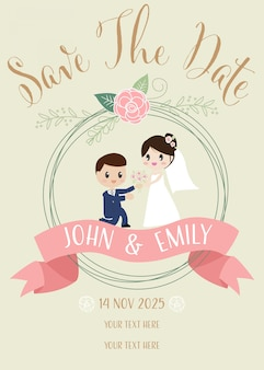 Cute wedding couple propose invitation card