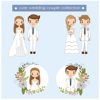 Cute wedding couple in wedding dress collection