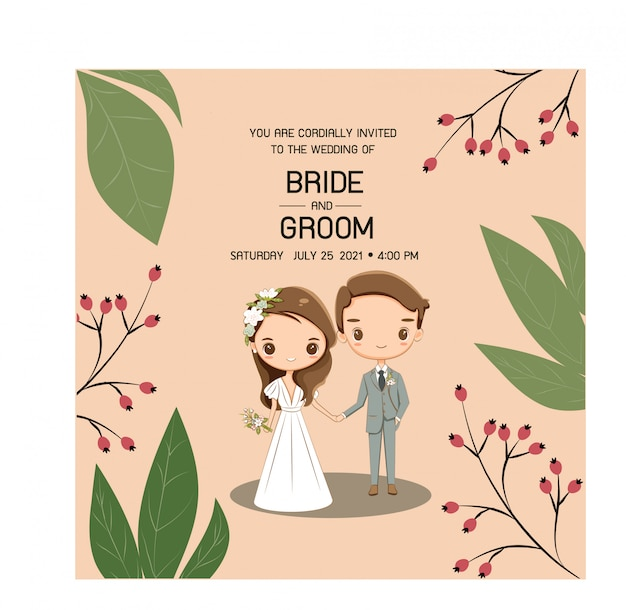 Cute wedding couple for wedding invitations card