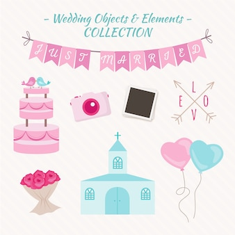 Cute wedding elements and objects