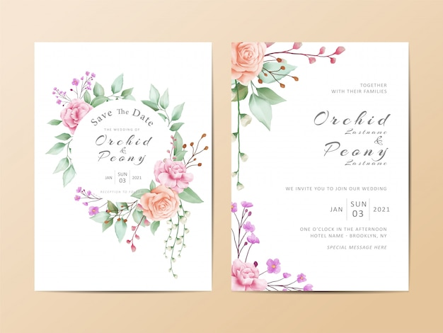 Cute wedding invitation card template set of watercolor floral