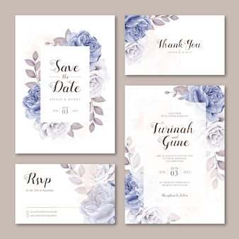 Cute wedding invitation card template with roses watercolor
