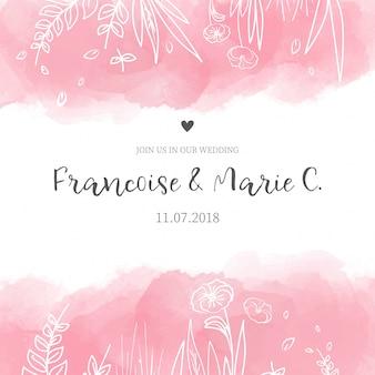 수채화 꽃과 귀여운 결혼식 초대 카드