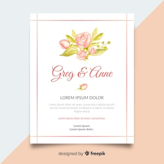 Cute wedding invitation template with peony flowers concept