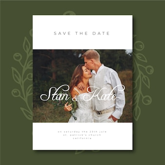 Cute wedding invitation template with photo