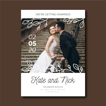 Cute wedding invitation with bride and groom