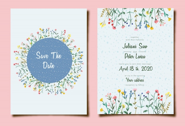 Cute wedding invitation with floral watercolor
