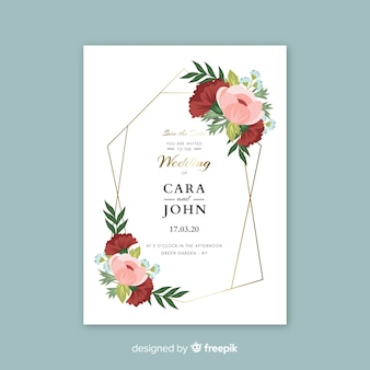 Cute wedding invitation with flowers template