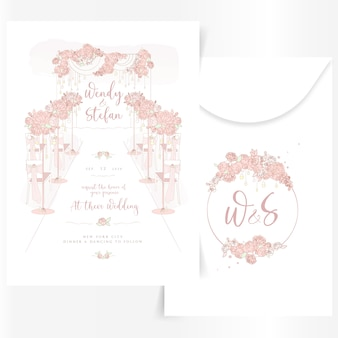 Cute wedding invitation with interior design decorations