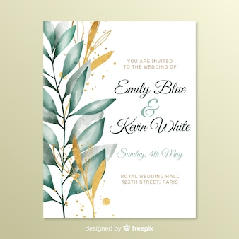 Cute wedding invitation with leaves