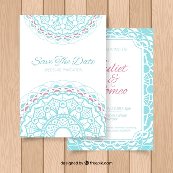 Cute wedding invitation with mandala
