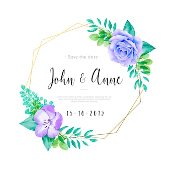 Cute wedding invitation with watercolor flowers and leaves